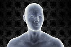 Cabeza que brilla intensamente transparente 3d de un hombre delante de un ejemplo del modelo 3d del laberinto stock de ilustración