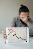 Cabeza que se inclina del hombre de negocios deprimido debajo de la mala carta del mercado de acción Imágenes de archivo libres de regalías