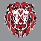 Cabeza roja modelada del león en el fondo gris Diseño africano/del indio/del tótem/del tatuaje Puede ser utilizado para el diseño Foto de archivo libre de regalías