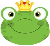 Cabeza sonriente de la rana linda con la corona Imagen de archivo