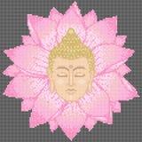 Cabeza y Lotus Cross Stitch de Buda ilustración del vector