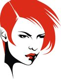 Cabeza y su pelo (vector de la mujer del estilista)