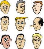 Cabezas de los caracteres de los hombres de la historieta fijadas Imágenes de archivo libres de regalías