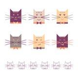 Cabezas de los gatos fijadas Fotografía de archivo libre de regalías