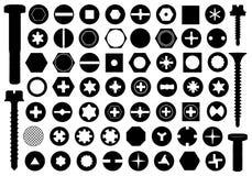 Cabezas de tornillo fijadas ilustración del vector