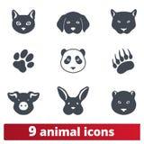 Cabezas del animal salvaje y doméstico e iconos de la huella libre illustration