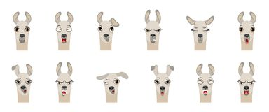 Cabezas del lama con diversas emociones - sonriendo, tristes, cólera, agresión, somnolencia, cansancio, mala voluntad, sorpresa,  stock de ilustración