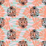 Cabezas del tigre y modelo inconsútil del vector de las rayas con las hojas de palma libre illustration