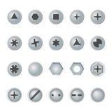 Cabezas del tornillo y de perno fijadas Elementos del diseño del vector Fotografía de archivo libre de regalías