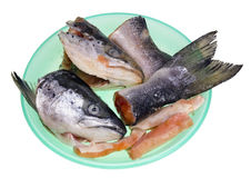 Cabezas y colas de pescados un salmón Imágenes de archivo libres de regalías