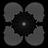 Cabezas y engranajes femeninos humanos, dibujo lineal industrial blanco y negro, vector Imagen de archivo