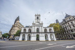 Cabildo building in Buenos Aires, Argentina. BUENOS AIRES, ARGENTINA - APR 10: Cabildo building facade as seen from Plaza de Mayo in Buenos Aires, Argentina on stock image