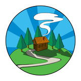 Cabin. Wooden house, cabin in the forest. Graphic icon royalty free illustration