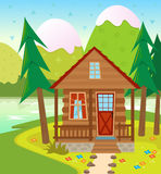 Cabin. A Cabin in the woods with a lake and snow capped mountains in the background. Eps10 vector illustration