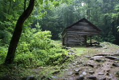 Cabin 5. Old rustic cabin in the Smokey Mountains of Tennessee Stock Photo