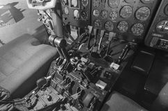 Cabin aircraft. Steering wheel pilot. Dashboard aircraft. Stock Photos