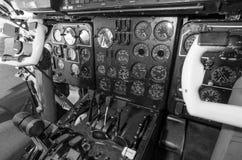 Cabin aircraft. Steering wheel pilot. Dashboard aircraft. Royalty Free Stock Images