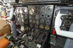 Cabin aircraft. Steering wheel pilot. Dashboard aircraft. royalty free stock photography