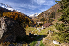 Cabin in the Alps mountains Royalty Free Stock Photo