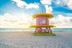 Free Cabin At Sunrise On The Miami Beach, Florida, USA Stock Photography - 161000212