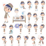 Cabin attendant beige woman sickness. Set of various poses of Cabin attendant beige woman sickness Royalty Free Stock Photo