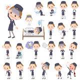 Cabin attendant black woman sickness Royalty Free Stock Photography