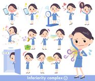 Cabin attendant blue women_complex Royalty Free Stock Image