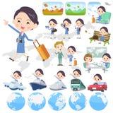 Cabin attendant blue women_travel Stock Photos