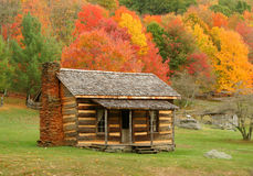Cabin in Autumn. Old cabin in Virginia during fall of the year stock photos
