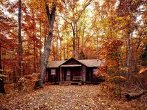 Cabin in autumn forest