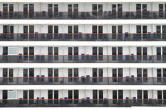 Cabin balconies of a cruise ship Royalty Free Stock Image