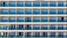 Cabin balconies of a modern cruise ship Stock Image