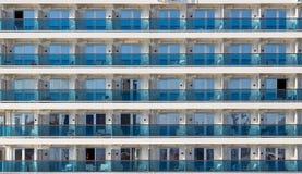Cabin balconies of a modern cruise ship. Rows of cabins on a modern cruise ship Stock Image