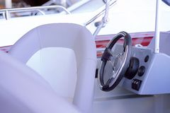 The cabin of the boat with all navigation equipment royalty free stock photos