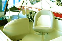The cabin of the boat with all navigation equipment stock photography