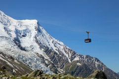 The cabin of cable car from Chamonix to the summit of the Aiguille du Midi stock images