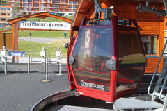 Cabin of the cable car in Chamrousse Royalty Free Stock Images