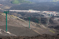 Cabin cableway on Etna volcano, Lipari, Sicily Stock Photos