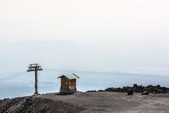 Cabin cableway on Etna volcano, Lipari, Sicily Stock Image