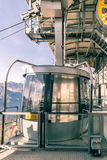 Cabin of a cableway stop at the top station. Cabin of a cableway stop at mountain station royalty free stock photo