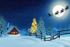 Cabin, Christmas tree and Santa in winter landscape at night Stock Image