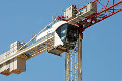 Cabin of the construction crane. Cabin of the modern construction crane stock photography