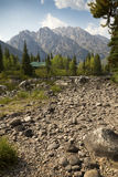 Cabin at Cottonwood Creek, with Teton Mountains, Jackson Hole, W Stock Images