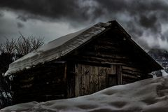 Cabin Covered by Snow Stock Photography