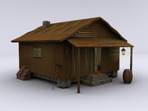 Cabin cozy II. 3d rendered wooden cabin standing on white ground. This is a cabin from one of my other images, isolated against a white ground royalty free illustration