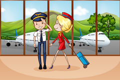 Cabin crew at airport Royalty Free Stock Image