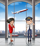 Cabin crew at airport Stock Photo