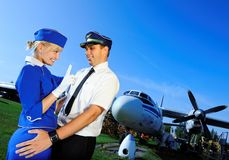 Cabin crew couple Stock Images