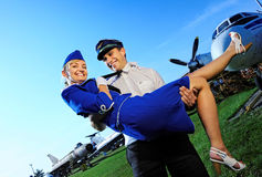 Cabin crew couple Royalty Free Stock Photo