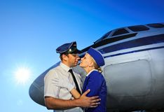 Cabin crew couple Stock Photos